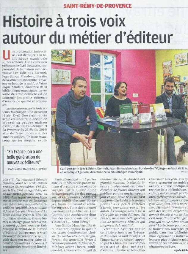 Article dans la Provence, sur les Éditions Éternel, à Saint-Rémy-de-Provence.