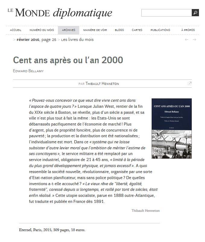 Éditions Éternel : un article dans le monde diplomatique sur cette maison d'édition française.