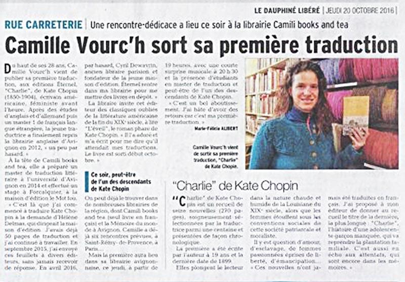 Un article sur Camille Vouc'h qui a traduite Charlie de Kate Chopin aux Éditions Éternel.