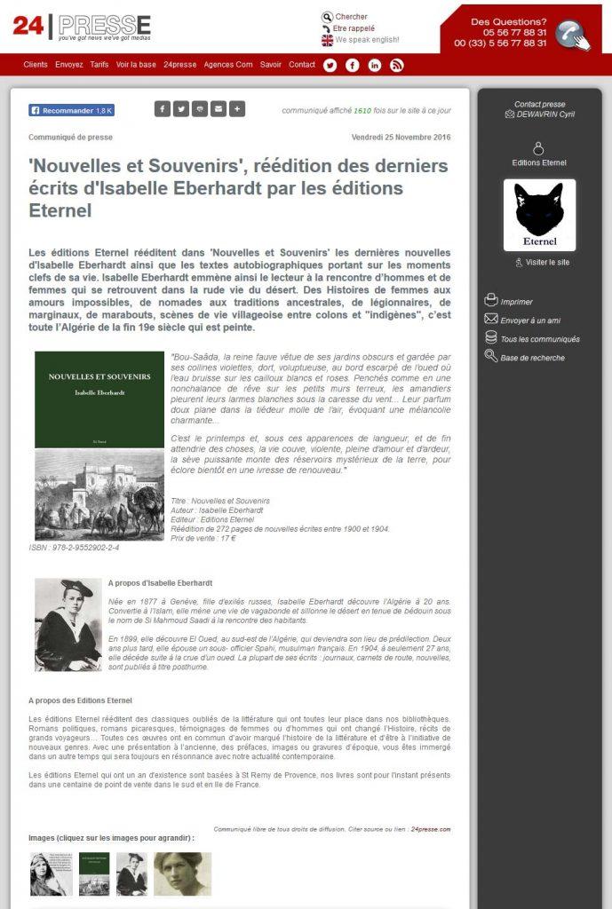 Éditions Éternel : Article de presse sur la parution de Nouvelles et souvenirs d'Isabelle Eberhardt.